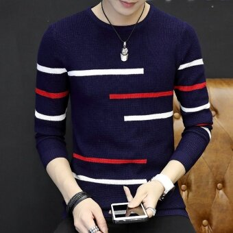 Men's Long Sleeve Slim Striped Knit Sweater(Navy Blue) - intl