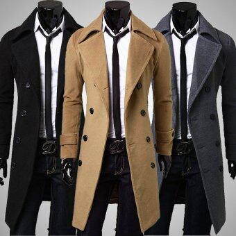 Men's New Fashion Coats Slim Long-Sleeved Causal Woolen Trench Coat Long Sections Winter Jackets (Khaki) - intl
