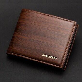 Men s Short Section PU Leather Vintage Money Clip Purses Wallets Dark Brown intl