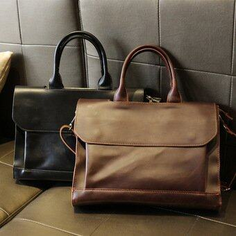 Men's Single Shoulder Handbags Genuine Cowhide Leather Bags Business Crazy Horse Leather Briefcase Restore Ancient Ways Tote (Black) - intl(...)