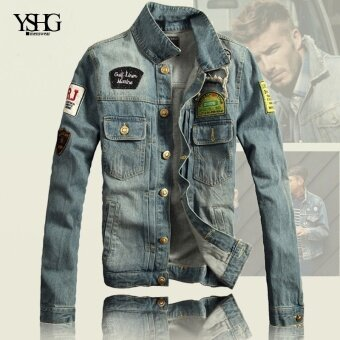 Men's Vintage denim jacket, denim jacket, thin hole badge clothing male tide - intl