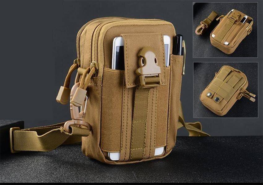 ขาย Men's Waist Bag Outdoor Sports Tactical Coin Purse Waist Fanny Packs Waterproof Pouch Bag D30 (Brown)