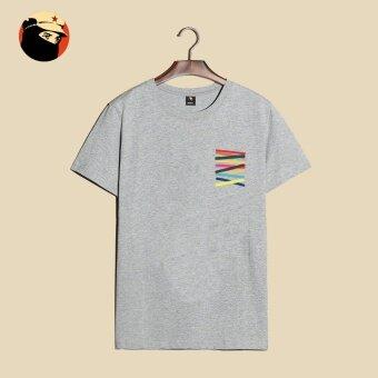 Mengmianqishi บุคลิกภาพใหม่เท็จกระเป๋าเสื้อยืด (T-281-กระเป๋าเท็จสีเทา) (T-281-กระเป๋าเท็จสีเทา)