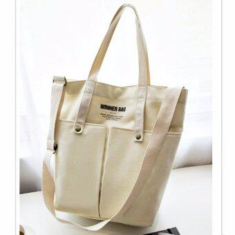 Men's Bags กระเป๋าสะพายไหล่ Tote Bag กระเป๋าสะพายข้างกรเป๋าช็อปปิ้ง กระเป๋าใส่เอกสาร Canvas Shoulder Bag ( สีครีม )