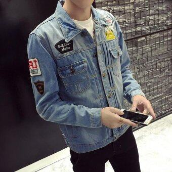 Mens Denim Jacket Men Distressed jackets Denim Biker Jeans CoatWashed Stitching Contrast Color jacket - Light Blue - Intl