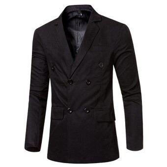 Harga Men's Double Breasted Suit Coat (Black)