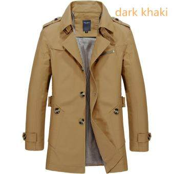 Men's Fashion New Winter Jeep Casual Jacket Long Paragraph CottonWashed Large Code Coat (Khaki) - intl