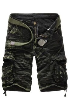 Men's Loose Fit Camouflage Military Cargo Shorts Without Belt(Green)