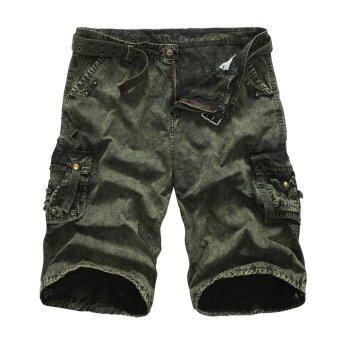 Men's new fashion slim Short overall pants 100%cotton purecolor(sand green+camouflage) - intl