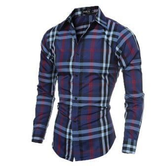 Mens Slim Casual Long Sleeve Shirts(Navy) - intl