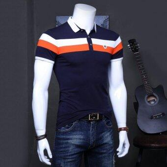 Men's Slim Short Sleeve V-neck Casual Polos Blue - intl