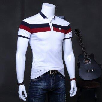 Men's Slim Short Sleeve V-neck Casual Polos White - intl