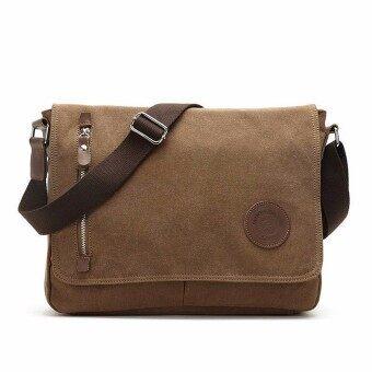 กระเป๋า กระเป๋าทรงเมสเซนเจอร์Men's Vintage Canvas Schoolbag Satchel Shoulder Messenger Bag Laptop Bag HOT Coffee - intl