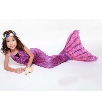 Mermories หางนางเงือก พร้อม Fin ว่ายน้ำ ลายเกล็ดปลา (ไม่รวมเสื้อ) รุ่น Violet Scale Mermaid Tail