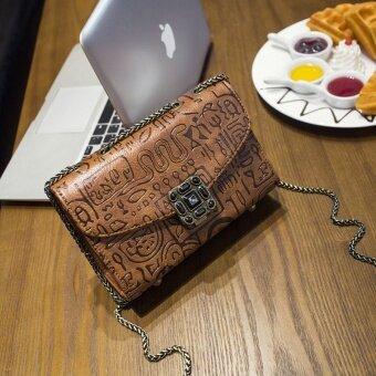 ย้อนยุคของ Messenger หญิงถุงขนาดใหญ่กระเป๋าสะพายกระเป๋าโซ่ถุง (สีน้ำตาล)