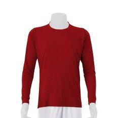 Mheecool เสื้อคอกลมแขนยาวสีแดง