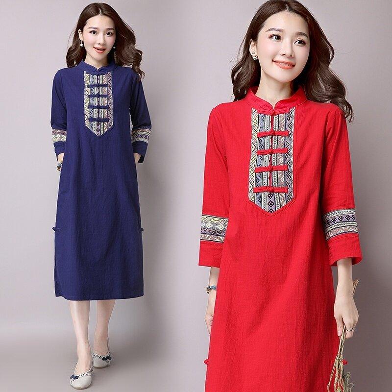 ผ้าฝ้ายใหม่ Miaoxiu Pankou อารมณ์ชุด (สีแดง)