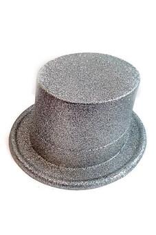 MIRAGE-SHOP หมวกทรงสูง ปาร์ตี้แฟนซี กลิตเตอร์ - สีเงิน