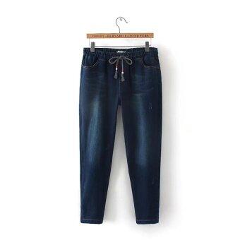 MM เกาหลีไซส์พิเศษไซส์ใหญ่พิเศษหลาผอมผอมยีนส์กางเกงขายาว (สีน้ำเงินเข้ม)