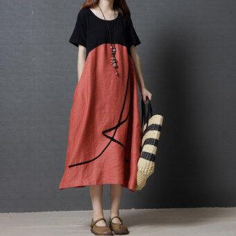 mm 1507099863 79822494 1123335863f27cc31553889d67ad3d89 product ราคาถูกมาก MM เกาหลีผ้าฝ้ายหญิงฤดูร้อนใหม่ชุด  สีส้ม