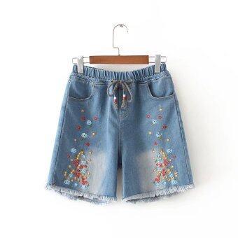 mm 1507100836 74713494 04159b5ec5be31a02d687a8e4ac30135 product MM เกาหลีพู่หญิงบางปักผ้ายีนส์กางเกงขาสั้นกางเกงขาสั้น  สีฟ้าอ่อน