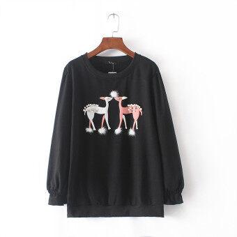 MM เกาหลีการค้าต่างประเทศใหม่คอกลมเสื้อกันหนาว (สีดำ)