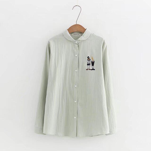 MM เกาหลีผ้าฝ้ายเนื้อครอบครองเสื้อ (สีเขียวอ่อน)