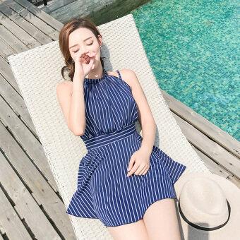 MM ขนาดเล็กสดหญิงสยามเป็นบางชุดว่ายน้ำ (1711 แถบสีฟ้า)
