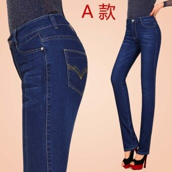 MM หญิงไซส์พิเศษไซส์ใหญ่พิเศษยืดสลิมตรงขนาดเล็กยีนส์กางเกงขายาววัยกลางคนกางเกงยีนส์ (สีน้ำเงินเข้ม)