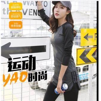 Mod ชุดออกกำลังกาย เซต 2 ชิ้น ชุดโยคะ ฟิตเนส เสื้อแขนยาว (793)กางเกงขายาว(9004) สำหรับผู้หญิง (สีเทา) รุ่น 793+9004 - 4