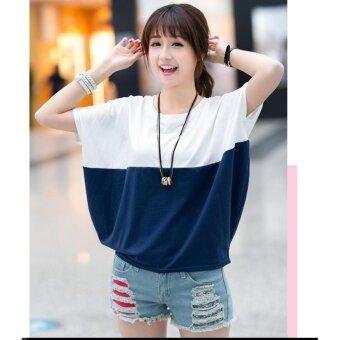 Mod เสื้อยืดแขนสั้น แฟชั่นเกาหลี (สีขาว/นํ้าเงิน) รุ่น 5849
