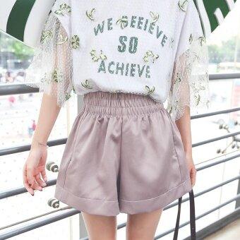 Momo เกาหลีสีทึบเป็นบางยางยืดกางเกงขาสั้น (สีเทาอ่อนสีชมพู) (สีเทาอ่อนสีชมพู)