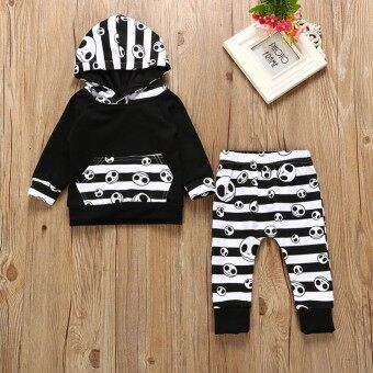 Moonar 2PCS Christmas Kids Baby Boys and Girls Frightened Set Stripe Hooded Infants Clothes - intl