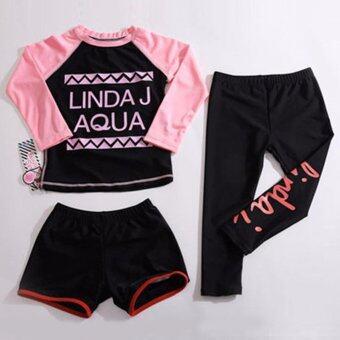 Mosha Fashions ชุดว่ายน้ำเด็กผู้หญิง เซ็ท 3 ชิ้น แขนยาว ขายาว (สีดำ-ชมพู) รหัส GWD4006