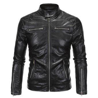 Motorcycle PU Leather Jacket Men Black Harley Moto Biker Jacket -intl