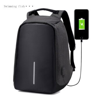 Multifunction USB Charging Men 16inch Laptop Backpacks For Teenager Fashion Male Mochila Leisure Travel Backpack Anti Thief-black - intl