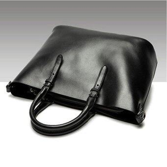 Munoor Italian 100% Genuine Cow Leather Women Top-handle BagsFashionable Lady Shoulder Bags (Black)(...) - intl - 2