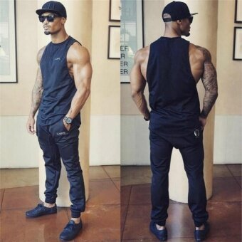 Muscleguys Stringer Tank Top Men Bodybuilding Clothing Fitness MensSleeveless gyms Vests Cotton Singlets Muscle Tops (Black) - intl