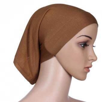 Muslim Hijab Adjustable Stretch Elastic Mercerized Cotton Headscarf Barrel Tube Cap Scarf Camel - intl