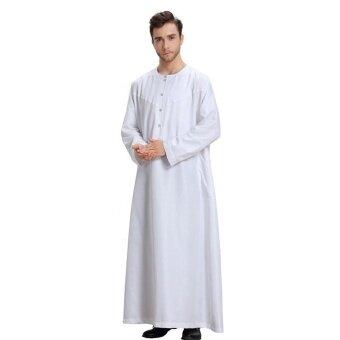 Muslim Men Long Sleeve Thobe Dress Men Islamic Clothing Plus SizeSaudi Arab Robe Gown - intl