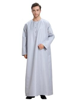 Muslim Men's Jubah Long Sleeve O-neck(Grey) - intl