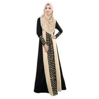 Muslim Women Lace Ethnic Long-sleeved Dress (Black) - intl