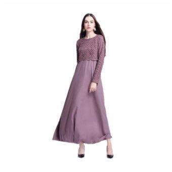 Muslim Women Long Sleeve Maxi Dress Clothing Robe Moroccan LaceDresses(Purple) - intl