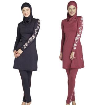สาวไซส์พิเศษพิมพ์ชุดว่ายน้ำของมุสลิมใหม่แฟชั่นชุดว่ายน้ำว่ายเล่นใส่Muslimah อิสลามเสื้อผ้ากีฬา