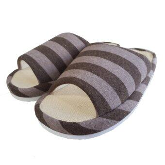 Nampet Shop รองเท้าผ้าคอตต้อนผ้ายืดลายขวางสไตล์ญี่ปุ่นสำหรับใส่เดินในบ้าน - Coffee (Men) - 3