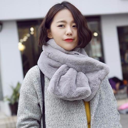 ขาย Nara ผ้าพันคอขนสัตว์ ผ้าพันคอ ผ้าคลุมไหล่ แฟชั่นหน้าหนาว เสื้อโค้ท เสื้อกันหนาว เฟอร์ สีเทา