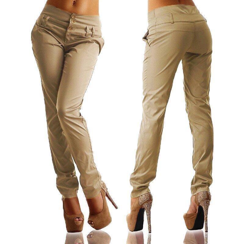 New Arrival ZANZEA Women Pants 2016 Autumn High Waist Butto ns Zipper Solid Long Trousers Casual Slim Pants Capris Plus Size Khaki - intl
