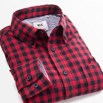 Harga New Fashion Autumn Winter 2017 Men Casual Long Sleeve Check ShirtSlim Fit Flannel Man Clothing Man Shirts M(red) - intl