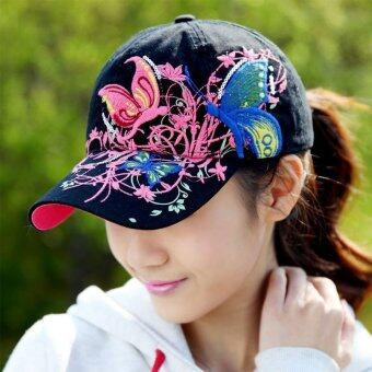 New High quality embroidered flowers and butterflies baseball Sport Fashion for women baseball hat - intl