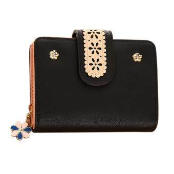 New Korean Women Short PU Leather Clutch Wallet Lace Floral CardHolder (Black) - intl